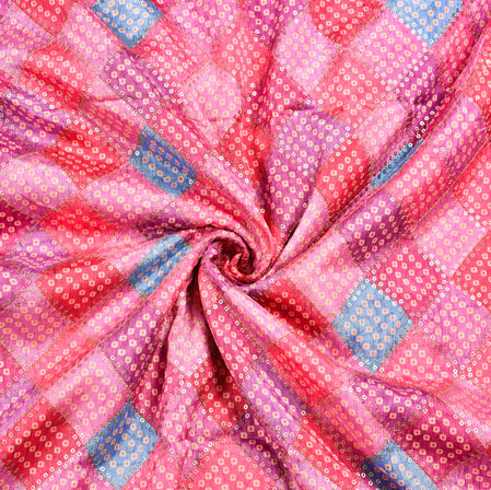 Pink MultiColor Bandhej Digital Position Print Chinon Embroidery Fabric-19288