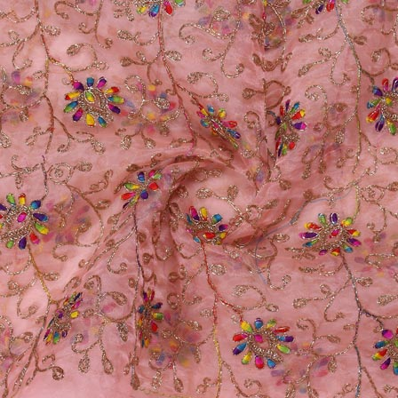 Pink Multicolor Embroidery Organza Silk Fabric-51642