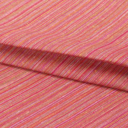 Cotton Shirt (2.25 Meter)-Pink Multicolor Stripes Handloom Khadi-140662