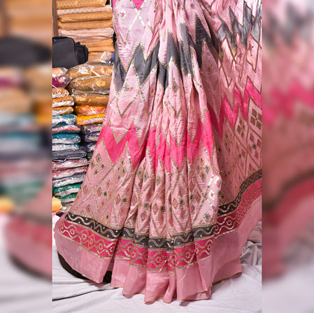 Pink NavyBlue Gota Position Georgette Embroidery Fabric-19132