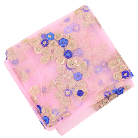 Pink Net Base Fabric With Blue and Golden Floral Embroidery-60101