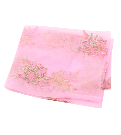 Pink Net Base Fabric With Golden Floral Embroidery-60082