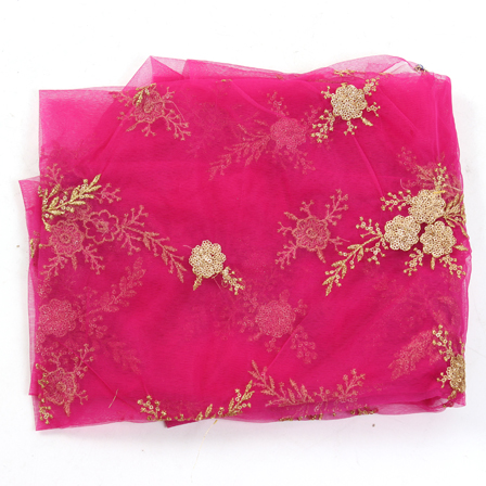 Pink Net Base Fabric With Golden Flower Embroidery-60085