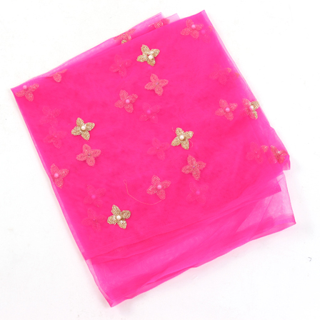 Pink Net Base Fabric With Golden Flower Embroidery-60094