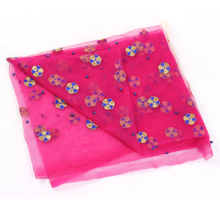 Pink Net Base Fabric With Golden and Blue Floral Embroidery -60108