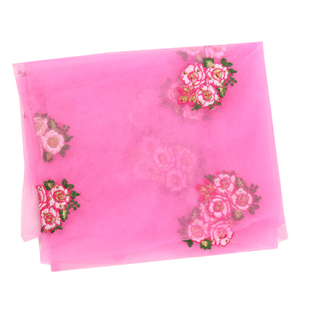 Pink Net Base Fabric With Golden and White Flower Embroidery -60097