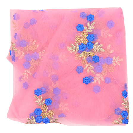 Pink Net Fabric With Golden Flower Embroidery-60824