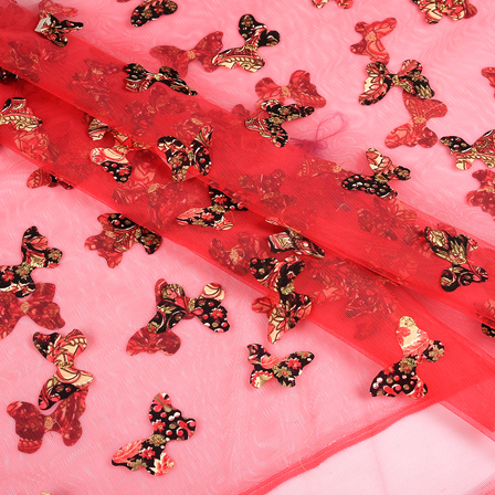 Pink Net Fabric With Multicolored Butterfly Embroidery -60769