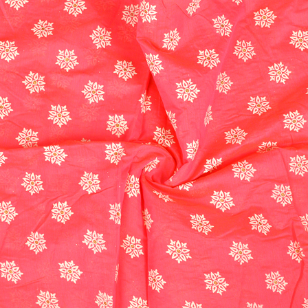 Pink- Off White and Silver Floral Design Chanderi Silk Fabric-9020