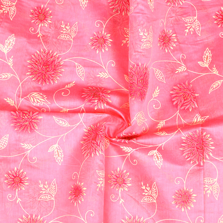 Pink-Off White and Silver Floral Design Silk Chanderi Fabric-9011