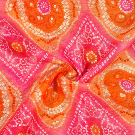 Pink Orange Bandhni Kota Doria Fabric-42546