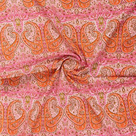 Pink Orange Block Print Cotton Fabric-14817