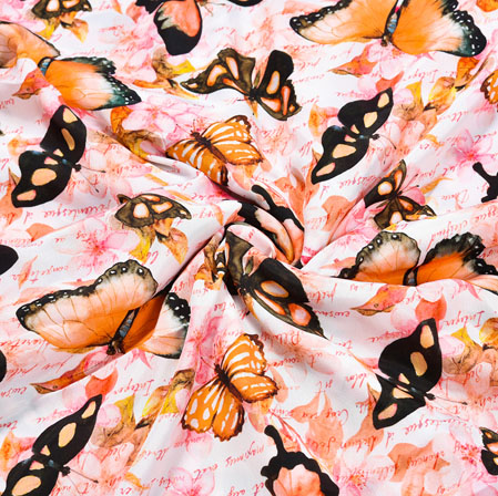 Pink Orange Butterfly Crepe Silk Fabric-41072