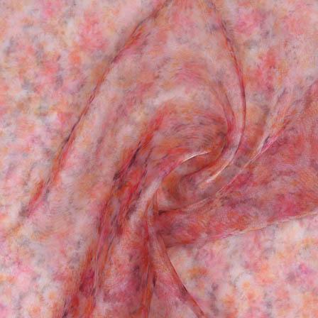 Pink Orange Digital Organza Silk Fabric-51721