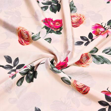 Pink Orange Floral Crepe Silk Fabric-41084