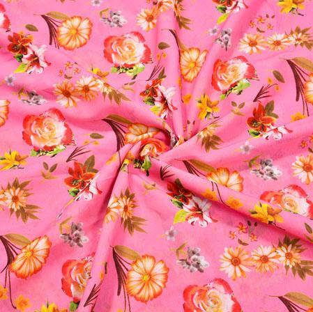 Pink Orange Floral Crepe Silk Fabric-41114