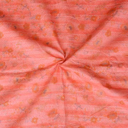 Pink Orange Floral Print Glazed Cotton Fabric-15205