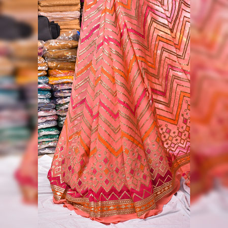 Pink Orange Gota Position Georgette Embroidery Fabric-19129