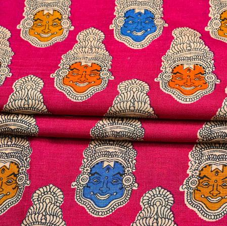 Pink Orange Kuchipudi Print Manipuri-Silk Fabric-18096