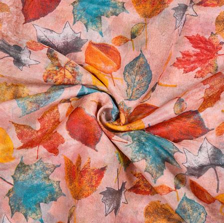 Pink Orange Leaf Organza Digital Silk Fabric-22173