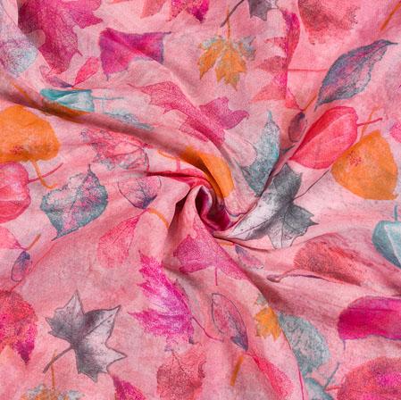 Pink Orange Leaf Organza Digital Silk Fabric-22176