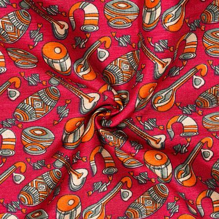 Pink Orange Musical-Instrument Print Manipuri-Silk Fabric-18045