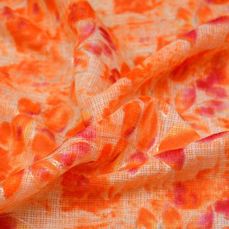 Pink-Orange and Beige Flower Design Kota Doria Fabric-6010