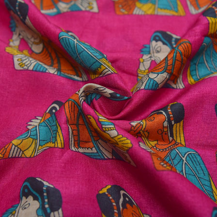 Pink-Orange and Cream Bride Pattern Kalamkari Manipuri Silk-16102