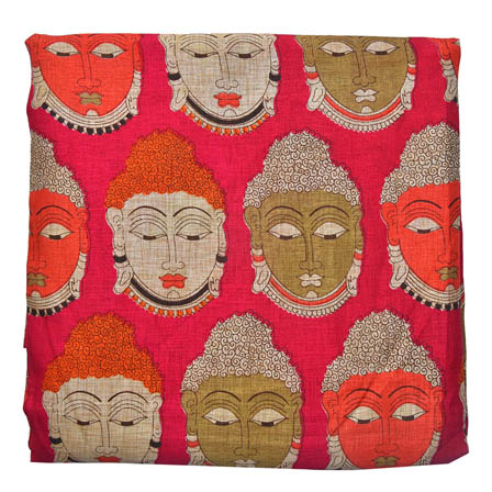 Pink-Orange and Cream Buddha Design Kalamkari Manipuri Silk-16045