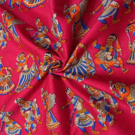 Pink-Orange and Cream Dancing Mudra Pattern Kalamkari Manipuri Silk-16075