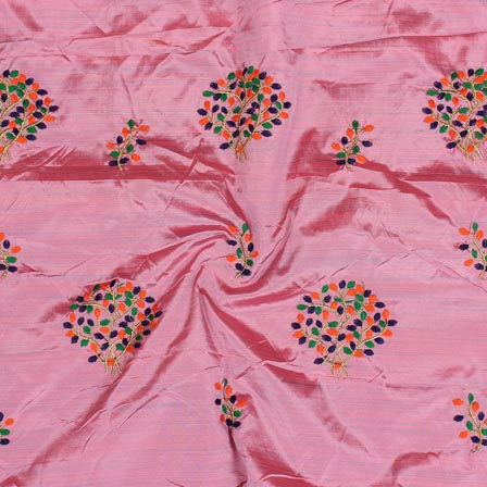 Pink Orange and Golden Bamboo Embroidery Silk Fabric-61015