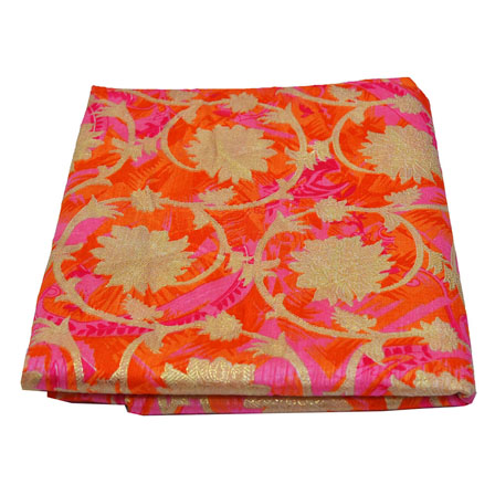 Pink-Orange and Golden Floral Design Kota Doria Fabric-25018