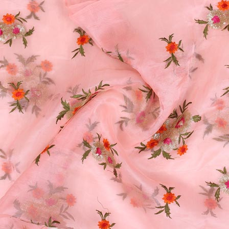 Pink Orange and Golden Floral Embroidery Organza Silk Fabric-51689