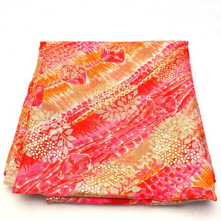 Pink-Orange and Golden Small Floral Design Kota Doria Fabric-25011