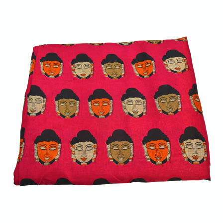 Pink-Orange and Green Buddha Shape Kalamkari Manipuri Silk-16008