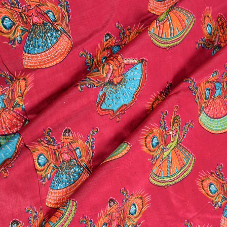 Pink-Orange and Green Dancing Mudra Jam Cotton Silk Fabric-75123