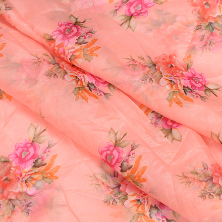 Pink-Orange and Green Floral Design Silk Organza Fabric-51067