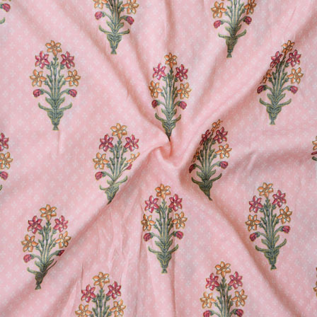 Pink Orange and Green Floral Print Rayon Fabric-15195