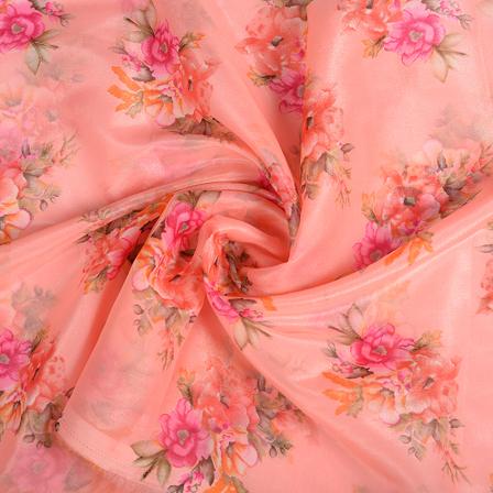 Pink-Orange and Green Floral Silk Organza Fabric-51125