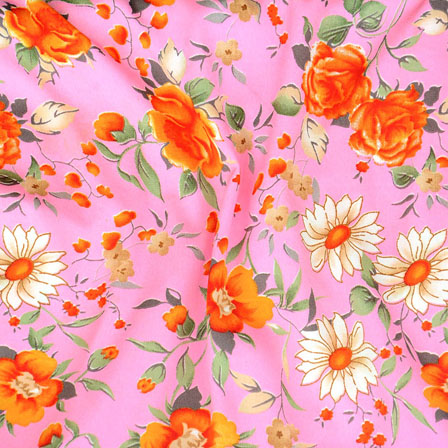 Pink Orange and Green Flower Crepe Silk Fabric-18207
