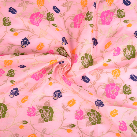Pink-Orange and Green Flower Digital Brocade Fabric-24093