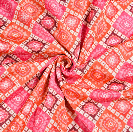 Pink Orange and White Bandhej Digital Position Print Chinon Embroidery Fabric-19342