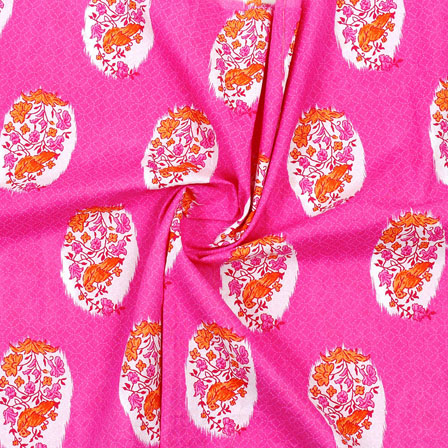 Pink Orange and White Block Print Cotton Fabric-14880