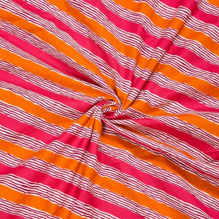 Pink Orange and White Leheriya Cotton Fabric-28096
