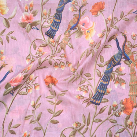 Pink Orange anf Golden Peacock Kota Doria Fabric-25128