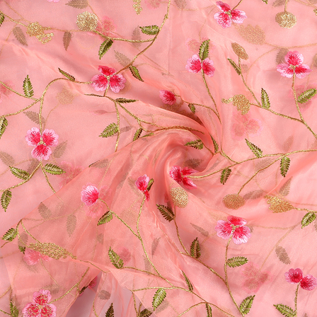 Pink Organza Fabric With Golden Floral Embroidery-50075