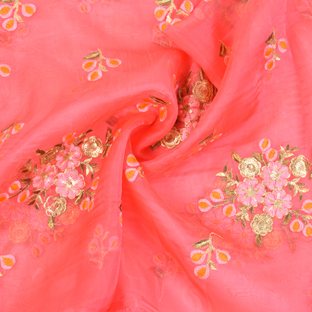 Pink Organza Fabric With Golden and Orange Floral Embroidery -60066