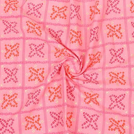 Pink Peach Block Print Cotton Fabric-14867