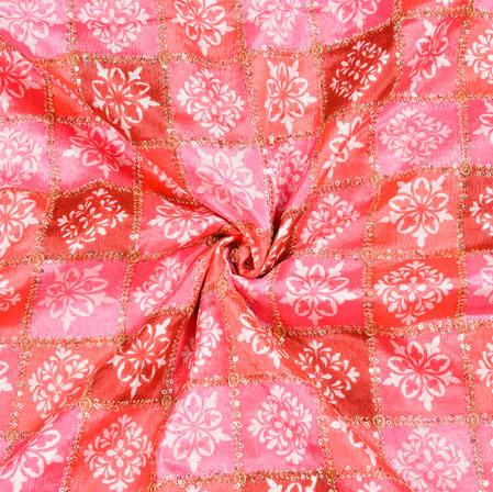 Pink Peach Digital Position Print Chinon Embroidery Fabric-19336