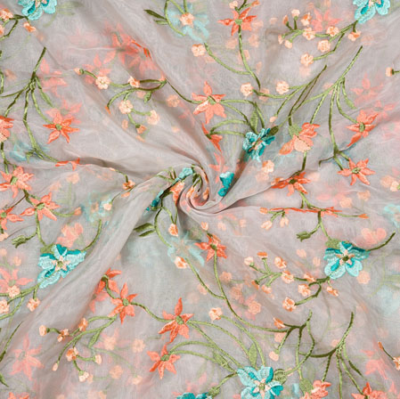 Pink Peach Flower Organza Embroidery Fabric-22243